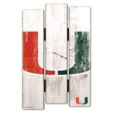"Miami Hurricanes Wood Fence Sign 11""x17"" [NEW] NCAA Wall Man Cave Fan Wall"