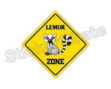 "*Aluminum* Lemur Crossing Funny Metal Novelty Sign 12""x12"""