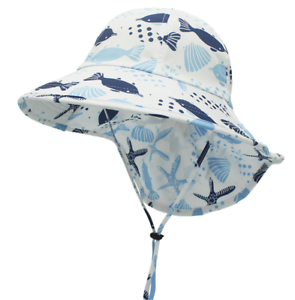 Kids-Sunhat-Polyester-Fabric-Wide-Hat-With-Neck-Protection-Summer-Children-039-s-Sun