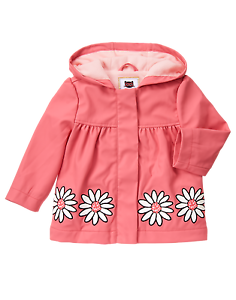 NWT Gymboree KITTY IN PINK 3T 4T Daisy FLEECE lined RAINCOAT Flower $44 Rain