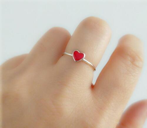 Argent Sterling 925 super adorable petit cœur rouge Réglable Anneau