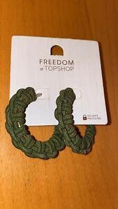 Topshop hoop earrings green Freedom