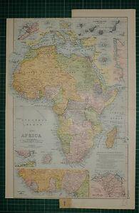 1905 antiguo mapa Africa Delta del Nilo Islas Canarias Egipto