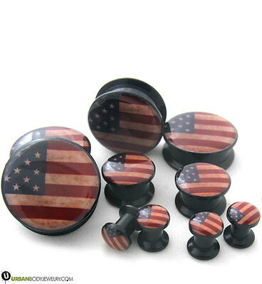 USA Flag Plugs Sizes / Gauges (2G - 1 Inch)  1 PAIR