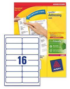 avery laser labels 16 per a4 sheet l7162 100 1 600 labels