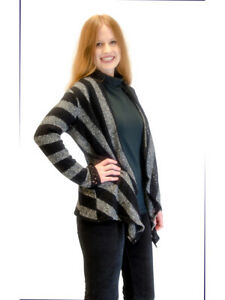 Sweater-Black-amp-Gray-Stripe-Knit-Shrug-Cardigan-Medium