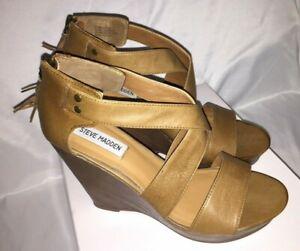 5b7f46655fb Details about NIB Steve Madden P-Gwenn Cognac Open Toe Strappy Wedge  Sandals - Size 9 M