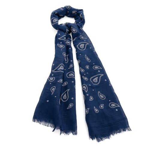 Large Blu Navy//Nero Stampa Paisley classica Sciarpa Scialle Avvolgente Sarong Nuova Soft Touch