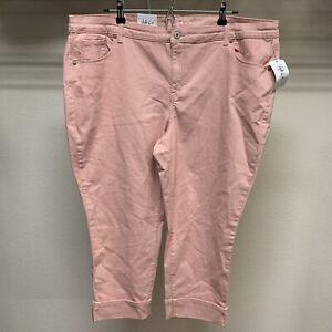 Style-amp-Co-Womens-Plus-Size-20W-Stretch-Peach-Mid-Rise-Capri-Cropped-Cuffed-NWT