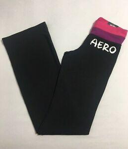 Aeropostale Aero Women/'s Athletic Logo Bootcut Yoga Pants Black Purple Waistband