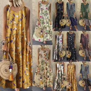 Women-Plus-Size-Bohemian-O-Neck-Floral-Print-Vintage-Sleeveless-Long-Maxi-Dress