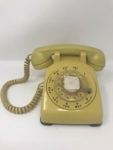 Vintage-Bell-Systems-Desk-Rotary-Dial-Telephone-500-5-76-Yellow-3-Wire-Used