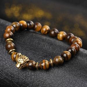New-Fashion-Men-039-s-Yellow-Tiger-Eye-Gold-Leopard-Head-Yogo-Stretch-Bracelet-Hot