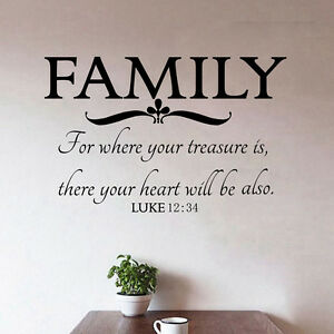 Where Your Family Bible Quotes Vinyl Sticker Home Wall Art Decals Decor Ebay