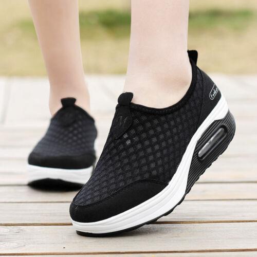 Size 35-42 Womens Nurse Mesh Breathable Loafer Platform Work Casual Shoes Pumps
