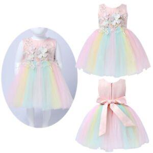 Baby-Girls-Tutu-Dress-Colorful-Flower-Birthday-Sundress-Rainbow-Skirt-Clothes