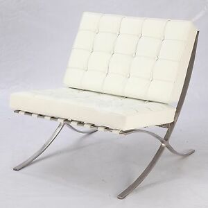 Platinum Replica Barcelona Chair White Italian Leather Furniture