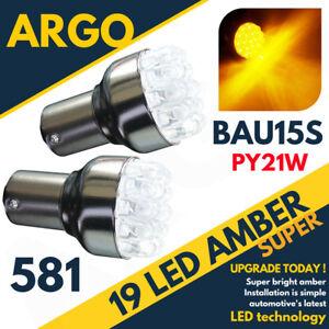 19 LED 581 BAU15S PY21W TURN SIGNAL OFFSET PINS AMBER FRONT INDICATOR 12V BULBS
