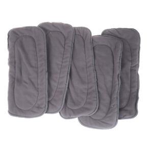5-Stuecke-4-Schichten-Bambusfaser-Holzkohle-Waschbar-Stoffwindel-Windeln-Ein
