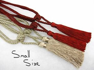 Pair-of-Small-curtain-tassel-tiebacks-Red-Gold-IDEAL-FOR-SMALL-WINDOWS-Tie-backs