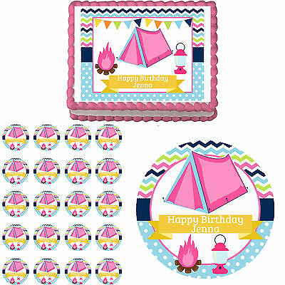 Glam Camp Girl Camping Glamping Edible Birthday Party Cake Cupcake Topper