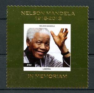 Liberia 2013 MNH Nelson Mandela in Memoriam 1v Gold Stamp Politicians Stamps