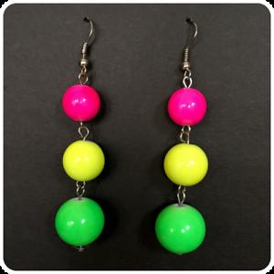 RETRO NEON PINK GREEN YELLOW BALL DROP DANGLE EARRINGS 1980/'S FANCY DRESS RAVE