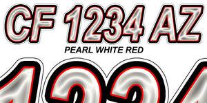 PEARL WHITE RED Custom Boat Registration Numbers Decals Vinyl - Custom boat numbers