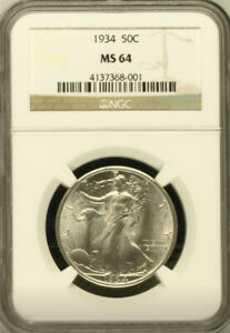 1934 Uncirculated Silver Walking Liberty Half Dollar Coin Graded MS64 by NGC