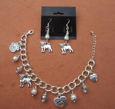 Jewelry Set Pug Charm Bracelet & Earrings w/ Fwater Pearls & Swarovski  Crystals