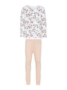 NAME-IT-Maedchen-Pyjama-Schlafanzug-rosa-weiss-Bluemchen-Groesse-86-bis-164