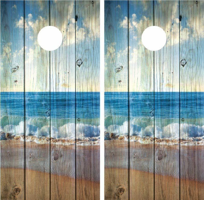 Beach Ocean Waves Distressed Wood Vintage Cornhole Board Decal Wrap Wraps