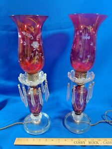 Pair-RARE-Etched-Cranberry-Glass-Banquet-Lamps-Lights-Antique-Victorian-VTG