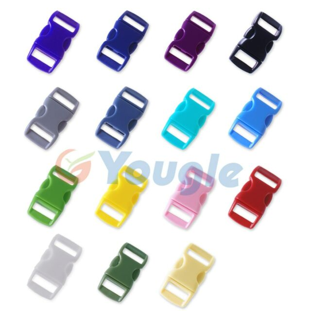 """3/8"""" Colored Contoured Curved Side Release Buckles Webbing Straps For Paracord"""