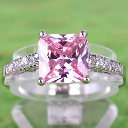 Good Luck Gift For Lover Pink & White Topaz Gems Silver Ring Size 6 7 8 9 10