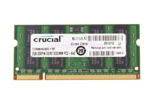 Crucial 4GB 2X 2GB 2RX8 PC2-6400S DDR2 800MHz 200pin SODIMM RAM Laptop Memory