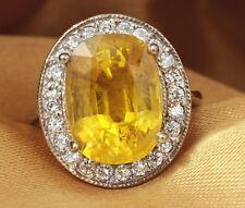Estate 10.85Ct Natural Unheated Yellow Sapphire & Diamond 14K White Gold Ring