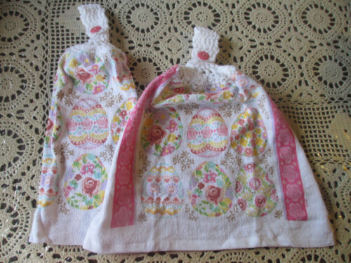 2 Hanging Kitchen Dish Towels With Crochet Tops Floral Easter Eggs