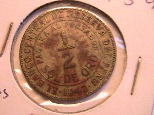 1937-1942 Peru Lot of 5 Coins WWII Era Peruvian South America Old World Coins