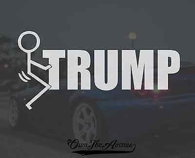 "Fck Trump Decal Sticker - Anti Trump Presidential Election 6"" WHITE"