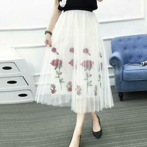 b4a8bae1b28f2c Spring Womens Mesh Skirt Rose Floral Embroidered Ball Gown Mid Skirt ...