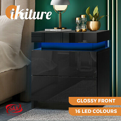 Details about  Oikiture Bedside Table RGB LED Nightstand Cabinet 2 Drawers Side Table Black