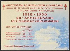 S583) France Carnet De Timbres Française Tuberculose 1939 Mh Stamp Livret-afficher Le Titre D'origine