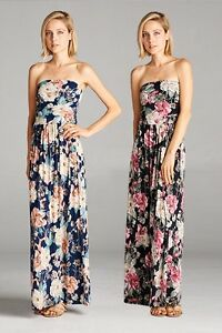 071958e7bfd Image is loading Vanilla-Bay-Floral-Maxi-Dress-with-Pockets-Strapless-