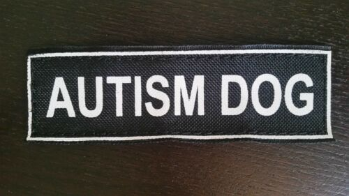 """AUTISM DOG Patches for Dog Harness or Collar 5/""""x1.5/"""" Hook-Side Backing"""
