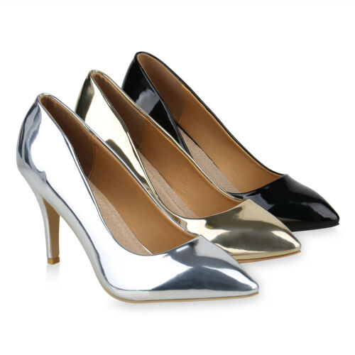 Spitze Damen Abiball Pumps Lack Metallic Party Übergrößen 821037 Hochzeit Schuhe
