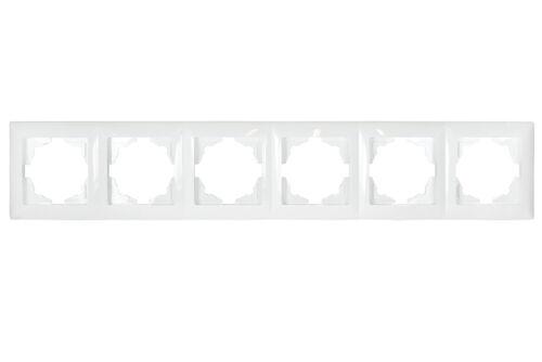 Gunsan Visage für 6 Steckdosen 6-fach Rahmen Schalter Dimmer Weiss