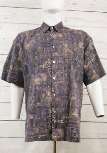 Tori-Richard-Hawaiian-Aloha-Shirt-Cotton-Lawn-Brown-Geometric-Tribal-Size-XXL