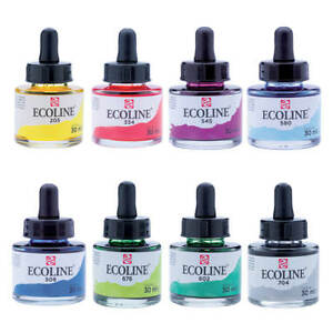 Talens Ecoline Liquid Dye-Based Watercolour Paint Ink 30ml 60 Colours Available
