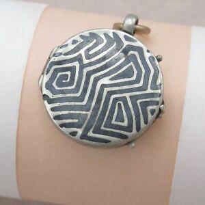 Antique-Victorian-800-Silver-Niello-Mixed-Metals-Locket-Pendant-4-Necklace